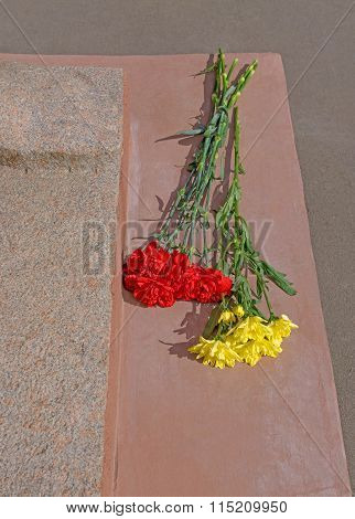 Flowers At War Monument