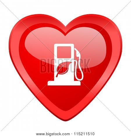 biofuel red heart valentine glossy web icon