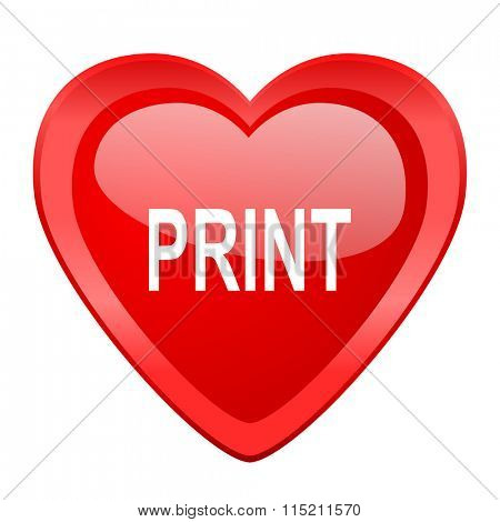 print red heart valentine glossy web icon