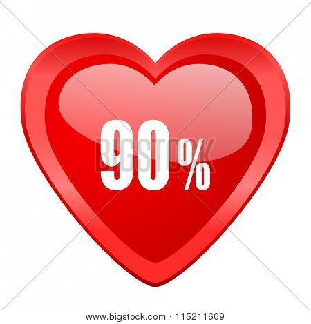 90 percent red heart valentine glossy web icon