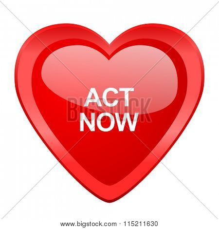 act now red heart valentine glossy web icon