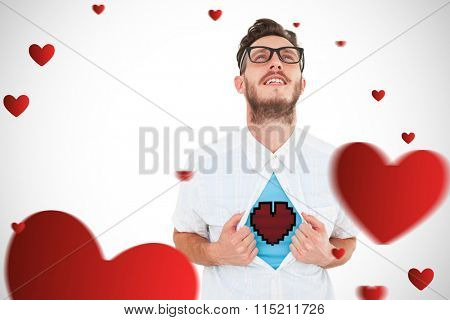heart against geeky hipster opening shirt superhero style