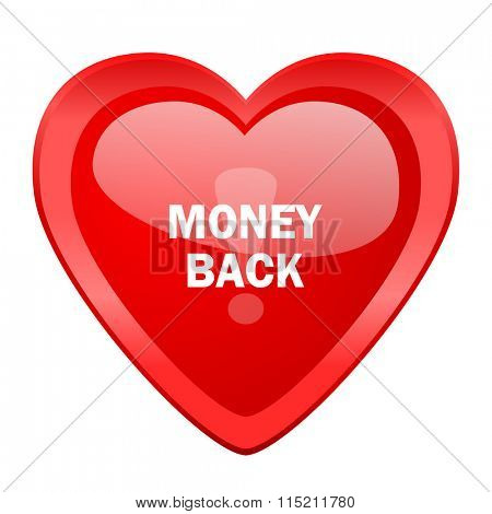 money back red heart valentine glossy web icon
