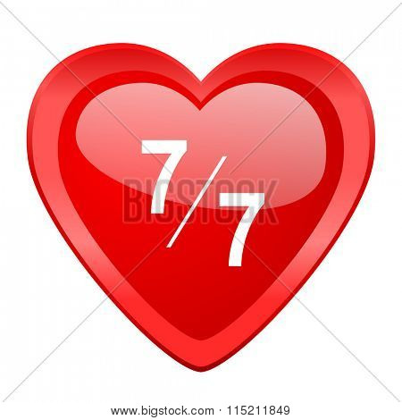 7 per 7 red heart valentine glossy web icon