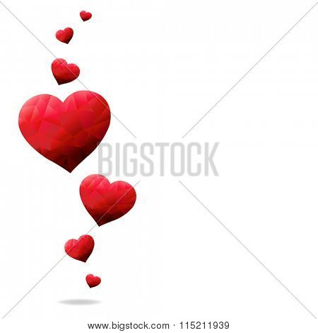 Red Hearts With Gradient Mesh, Vector Illustration