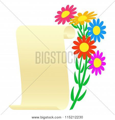 Bouquet of flowers and a scroll.