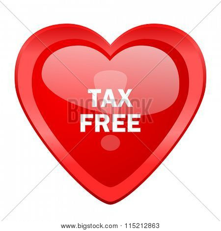 tax free red heart valentine glossy web icon