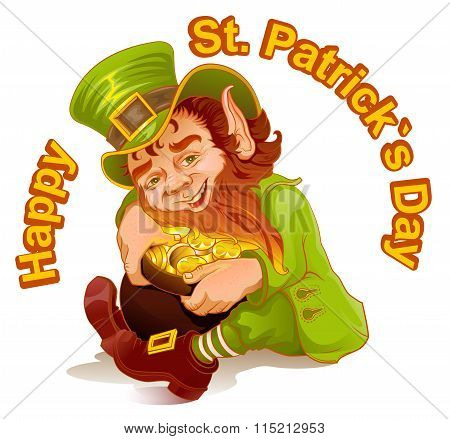 Dwarf embraced pot of gold. Patricks Day. Leprechaun and gold