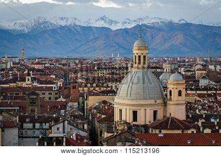Turin (torino) Panorama With Snowy Alps1