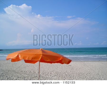 Single Orange Umbrella At Beach