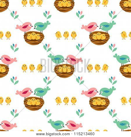 Seamless pretty pattern with stylized birds and nests. Endless texture for your design, announcements, greeting cards, posters, advertisement.