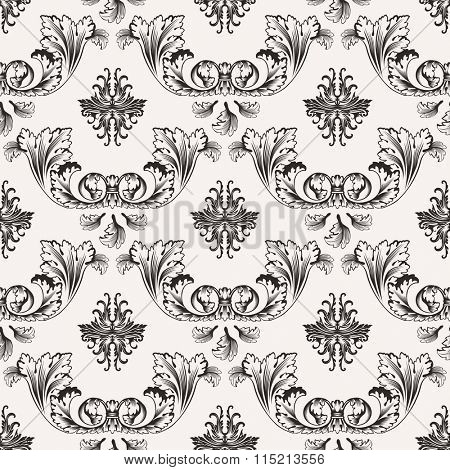 seamless pattern with art ornament. Vintage elements for design in Victorian style. Ornamental lace tracery background. Ornate floral decor for wallpaper. Endless texture - Raster Copy