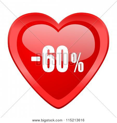 60 percent sale retail red heart valentine glossy web icon