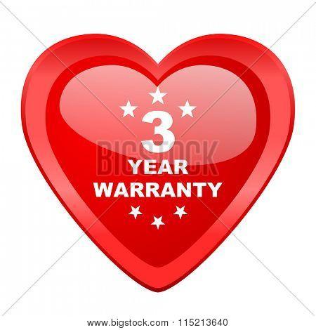 warranty guarantee 3 year red heart valentine glossy web icon