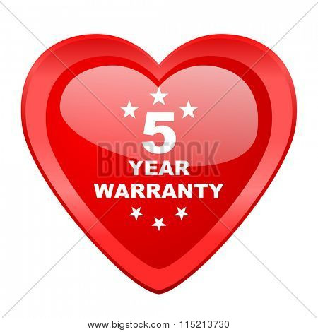warranty guarantee 5 year red heart valentine glossy web icon