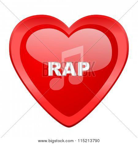 rap music red heart valentine glossy web icon