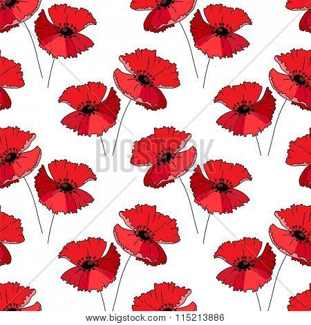 Seamless pattern with stylized cute red poppies.  Endless texture for your summer design, fabrics, greeting cards, announcements, posters.
