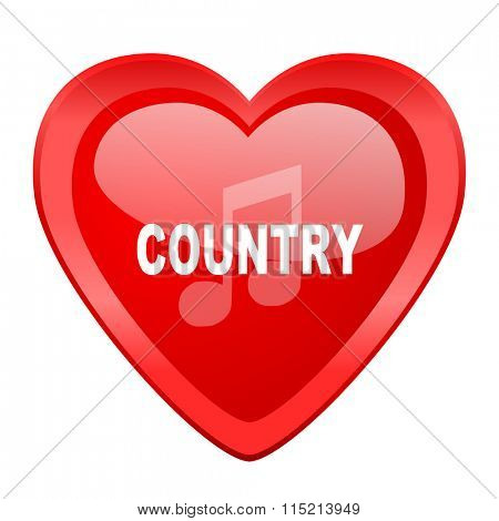 music country red heart valentine glossy web icon