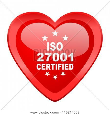 iso 27001 red heart valentine glossy web icon