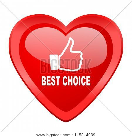 best choice red heart valentine glossy web icon