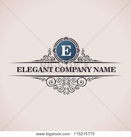 Luxury logo. Calligraphic pattern elegant decor elements. Vintage  ornament E - Raster copy