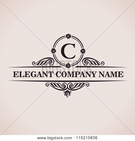 Luxury logo. Calligraphic pattern elegant decor elements. Vintage ornament C - Raster copy