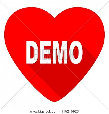 demo red heart valentine flat icon