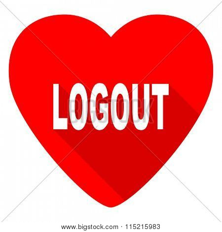 logout red heart valentine flat icon