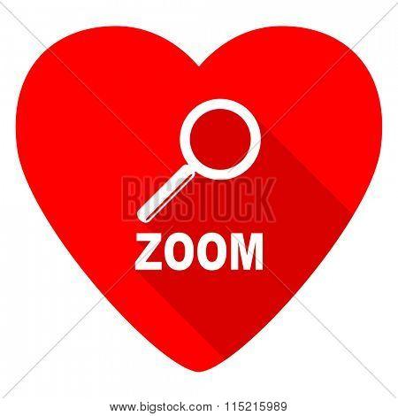 zoom red heart valentine flat icon
