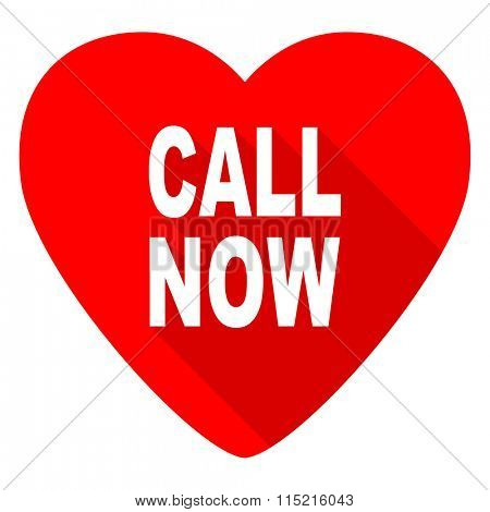 call now red heart valentine flat icon