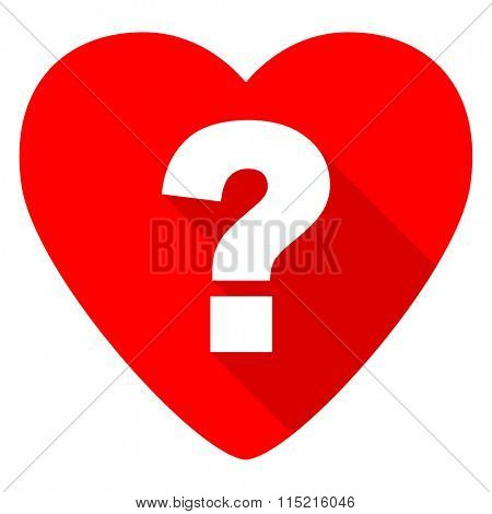 question mark red heart valentine flat icon