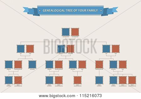 Genealogical tree of your family with bezels isolated - Raster copy