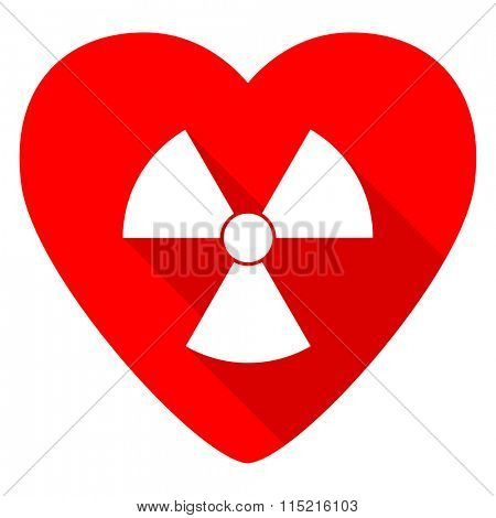 radiation red heart valentine flat icon