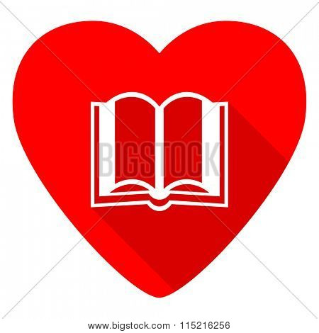 book red heart valentine flat icon