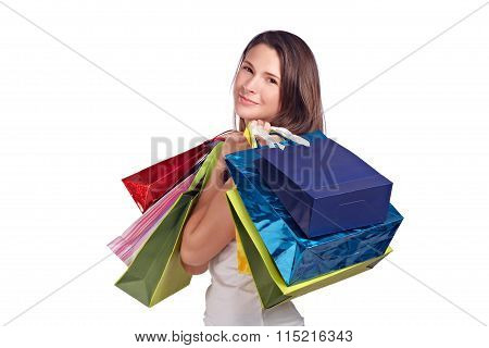 Young Woman With Colored Bags