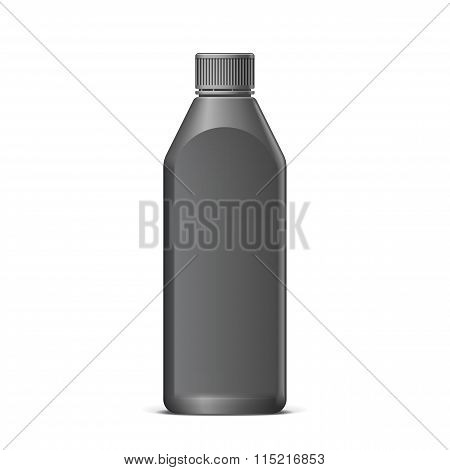 Cool Realistic Black Plastic Bottle.