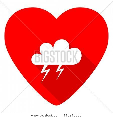 storm red heart valentine flat icon