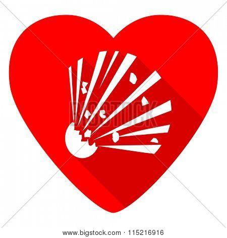 bomb red heart valentine flat icon