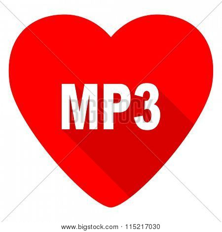 mp3 red heart valentine flat icon