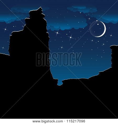 ?anyon at night. Colorful vector background.