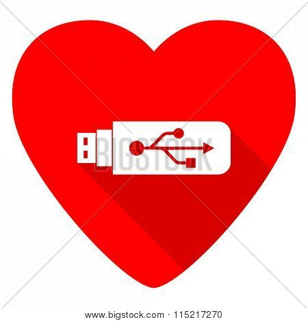 usb red heart valentine flat icon