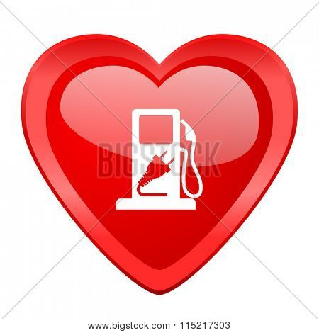 fuel red heart valentine glossy web icon