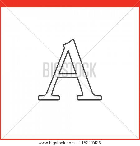 Type tool icon. Vector graphics designer tool. Simple outlined vector icon in linear style