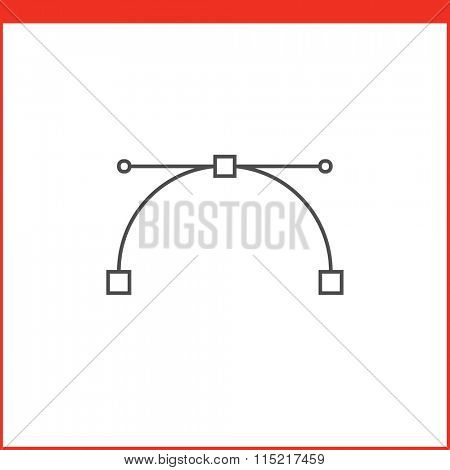 Bezier curve tool icon. Vector graphics designer tool. Simple outlined vector icon in linear style