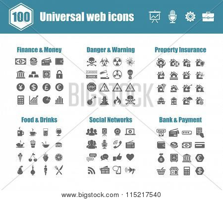 100 universal vector icons - Finance and Money, Danger and Warning, Property Insurance, Food and Drinks, Social Networks, Bank and Payment