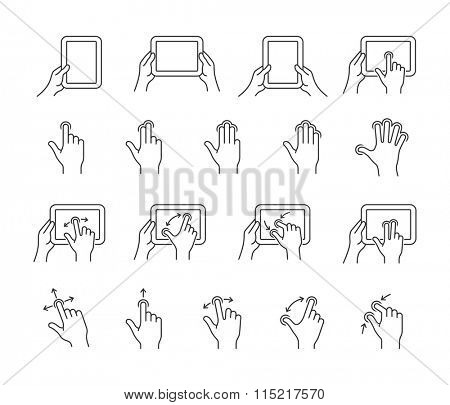 Gesture icons for tablet touch devices. Simple outlined vector icon set for a mobile app user interface or manual. Linear style