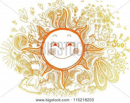 Orange sun, doodles vector