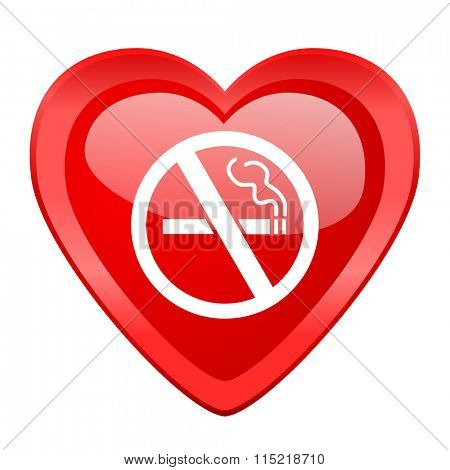 no smoking red heart valentine glossy web icon