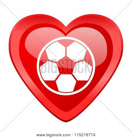 soccer red heart valentine glossy web icon