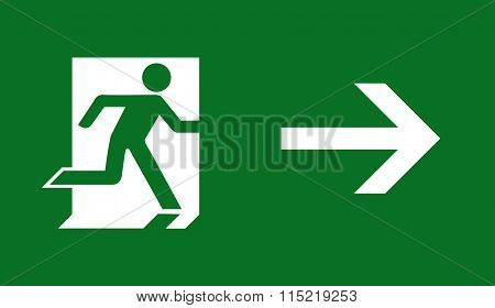 Emergency fire exit door and exit door. Green icon on white background.